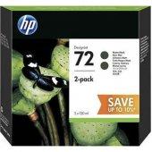 Hp P2v33a (72) Mat Sıyah 2lı Paket 130ml Genıs Format Murekkep Kartusu