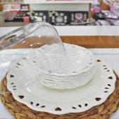 7li Pleksi Kapaklı Seramik Kenarı Dantelli Pasta İkram Seti