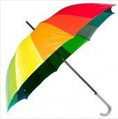 Bayan Erkek Kadın Gökkuşağı Baston Şemsiye Renkli Otomatik