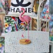 Dekoratif Seramik Pembe Tek Ayak Havada Flamingo Masa Sehpa Süsü