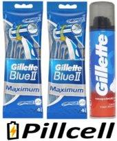 Gillette Blue 2 Maximum 4 Lü Poşet *2 Adet + 200 Ml Traş Köpüğü