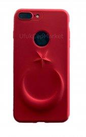 Iphone 7 Plus 8 Plus 3d Bayrak Kabartmalı Silikon Kılıf Kırmızı
