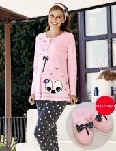 şahinler Terlik Hediyeli Lohusa Pijama Takımı Pembe Mbp23724 1