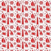Beyaz Zemin Üzerine Kırmızı Denizci Temalı Keçe Pl...