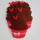çikolatalı Kalpli Kırmızı Cupcake Keçe Aplike (Dk ...