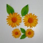 Sarı Papatya Ve Yaprak Desenli Keçe Aplike (Dk 99 B)