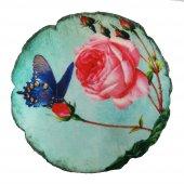 çiçek Desenli Dekoratif Yuvarlak Yastık (Y46)