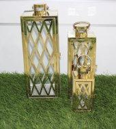 Yeni 3lü Metal Camlı Dekoratif Kafes Model Altın Fener Mumluk