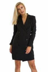 Siyah Düğmeli Ceket Elbise 19k0155025