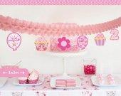 1 Adet 2 Yaş Kız Pembe Doğum Günü Partisi, Asmalı Uzar Duvar Süsü