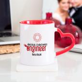 Kişiye Özel Elektrik Elektronik Mühendisi Kalpli Kupa Bardak Kırmızı