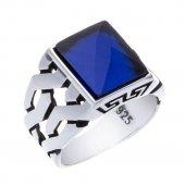 925 Ayar Gümüş Mavi Zirkon Taşlı Örgü Model Yüzük