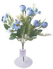 5 Dallı 28 Cm Aranjmanlı Gül Ve Papatya Yapay Çiçek Mavi Ck012ma