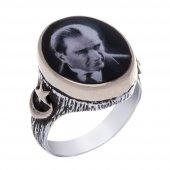 925 Ayar Gümüş Atatürk Silüetli Oval Yüzük