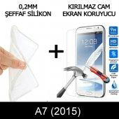 Samsung A7 2015 Ultra İnce Şeffaf Silikon Kılıf + Temperli Cam