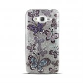 Samsung Grand Prime Plus Kelebek Desenli Simli Silikon