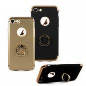 Iphone 7 Siyah Joyroom Orjinal Selfie Yüzüklü Standlı Gold Çerçeveli Lüx Rubber Kılıf
