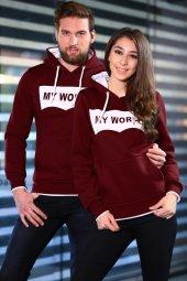 Bordo Sweatshirt Kanguru Cepli Kapüşonlu My World
