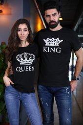 Queen Kıng Sevgili Kombini Tshirt King Queen Siyah Tişört