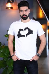 Kalp Baskılı Sevgili Tshirt Kısa Kollu T Shirt Bicycle Yaka