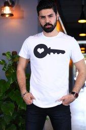Kalbimin Anahtarı Tshirt Kısa Kollu T Shirt Bicycle Yaka Tişört
