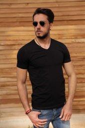 V Yaka Basic Tshirt Kısa Kol Siyah Tişört