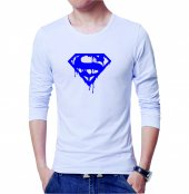 Süperman Erkek Tişört Beyaz Erkek Tshirt Uzun Kollu T Shirt