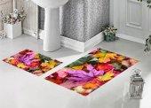 Bh 1721 Renkli Yapraklar 3d Banyo Paspas Takımı