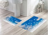 Bh 1736 Gökyüzündeki Baloncuklar Mavi 3d Banyo Paspas Takımı
