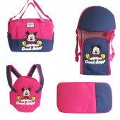 Mickey Mouse 4 Lü Tam Bebek Taşıma Seti Fuşya Laci...