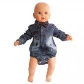 Kot Gömlekli Papyonlu Alttan Çıt Çıtlı Erkek Bebek Tulum
