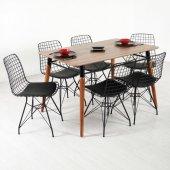 Evform Wire 6 Kişilik Masa Takımı Yemek Masası Siyah