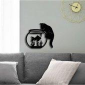 Dekoratif Ahşap Duvar Tablo Kedicik Balık Avı
