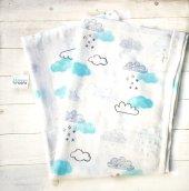 Bulut Desenli %100 Pamuk Bebek Müslin 120*120