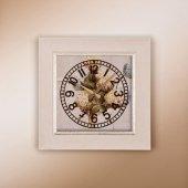 1369 W1 Rustik Beyaz Ahşap Desenli Köşeli Saat
