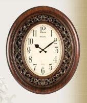 1638 Aı Oval Oymalı Ahşap Renk Büyük Boy Saat