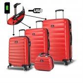 My Valice Smart Bag Colors Usb Şarj Girişli 4lü Valiz Seti (Travel Set) Kırmızı