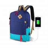 My Valice Smart Bag Freedom Usb Şarj Girişli Akıllı Sırt Çantası Lacivert Turkuaz
