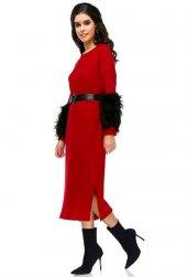 Bonalodi Kol Peluş Yumoş Kumaş Kırmızı Uzun Midi Boy Kadın
