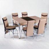 Evform Mutfak Masa Takımı Çizgi Seri 6 Sandalyeli
