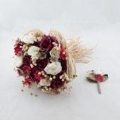 Kuru Güllerden Bordo Gelin Buketi Damat Yaka Çiçeği Hediyeli