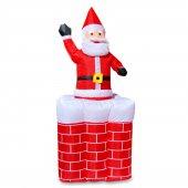 1 Adet Yılbaşı Vitrin Dekoru Bacadan Çıkan Şişme Noel Baba 150cm