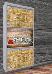 Evbox 3lü Welcome Baskılı Metal Ayakkabılık Fa 017