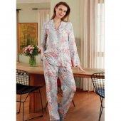 Eros 22550 Kadın Gömlekli Pijama Takımı Gri