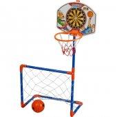 Pilsann Baketbol Dart Futbol Seti Çocuk Spor Oyuncak Eğlenceli Ak