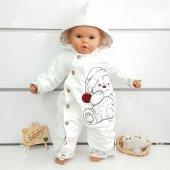 Ayıcıklı Flopy Beyaz Kışlık Bebek Tulum