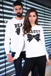 Beast Beauty Sweatshirt Sevgili Kombini Beyaz