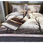 özdilek Wood Çift Kişilik Kabartmalı Polyester Battaniye Kahve