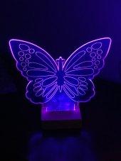3d 3boyutlu Kelebek Kişiye Özel Hediye 10 Renk Led Gecelambası