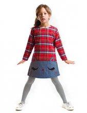 Denokids Kırmızı Kedi Ekose Kız Çocuk Elbise
